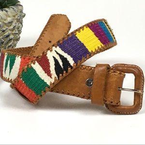 """Artisan Made Leather & Woven Belt Guatemala 31"""""""